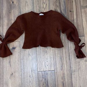 Wilfred Burgundy Tied Wrist Cropped Sweater